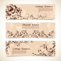 Vintage ornate flourish horizontal banner