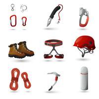 Mountain climbing icons set