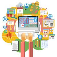 Seo concept computer poster