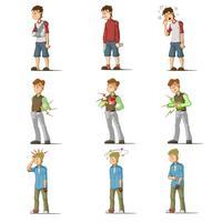 Medicine disease man flat characters set
