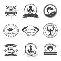 Conjunto de etiquetas de comida do mar