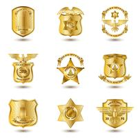 Polícia Emblemas De Ouro