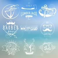 Hipster white vintage labels background