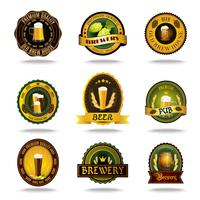 Beer old labels icons color set  vector