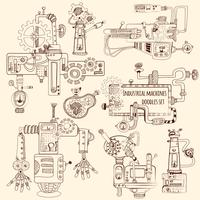 Industriële Machines Doodles Set