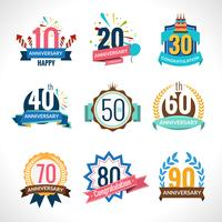 Conjunto de emblemas de aniversario vector