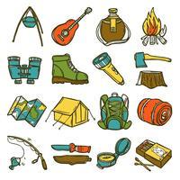 Conjunto de iconos de camping