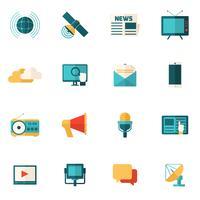 Conjunto de iconos planos de medios