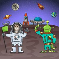 Astronauta y alien vector