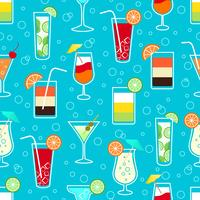 Seamless pattern with alcohol cocktail drinks