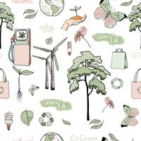 Doodles ecology and energy seamless pattern