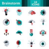 Conjunto de iconos de lluvia de ideas
