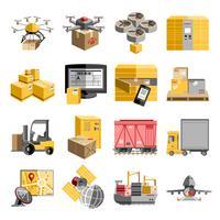 Nuovo set di icone piane di logistica