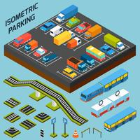 Elementos de estacionamiento isométrico