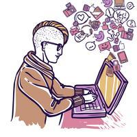 Homem, conversando, com, laptop