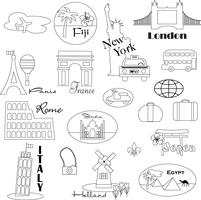 Schwarzer Umriss World Travel Digital Briefmarken Clipart