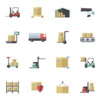 Warehouse-Icons flach gesetzt