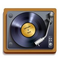 Vinyl record player print vector
