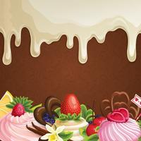 Sfondo di dolci al cioccolato bianco