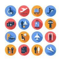 Conjunto de iconos de aeropuerto de color