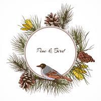 Etiqueta de rama de pino de ave