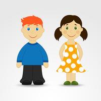 Cartoon jongen en meisje