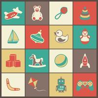 Conjunto de iconos planos de juguetes