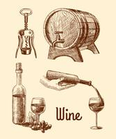 Wine sketch decorative set