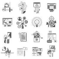 Conjunto de iconos de SEO negro