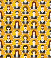 Seamless avatar characters pattern background vector