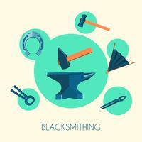 Blacksmith basic symbols emblems poster