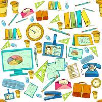 Seamless business office supplies pattern