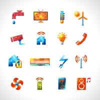 Smart House Polygonal Icons