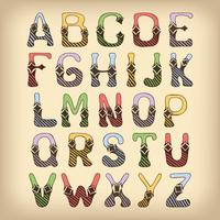 Carattere alfabeto schizzo colorato