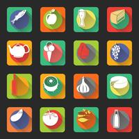 Icônes plats de nourriture