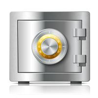 Concepto de seguridad de icono de acero realista seguro