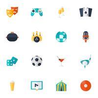 Unterhaltung Icons Flat Set