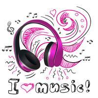Écouteurs de musique doodle vecteur