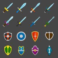 Conjunto de iconos de emblemas de espadas de escudo