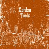 Manifesto dell'annata disegnato a mano con attrezzi da giardinaggio