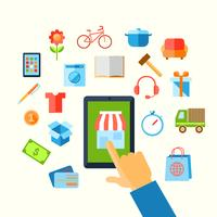 Conceito de mão compras e-commerce