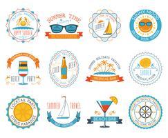 Sommar semester emblem klistermärken uppsättning platt