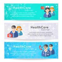 Colección de pancartas y cintas con medicina.