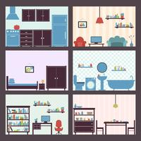 Interiors set flat vector