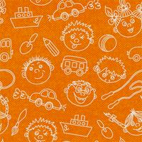 Seamless kids faces and toys pattern background