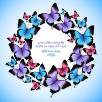 Colorful butterflies circle frame pattern
