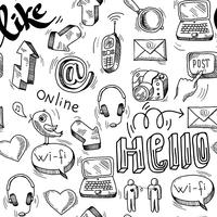 Naadloze doodle sociale media patroon achtergrond