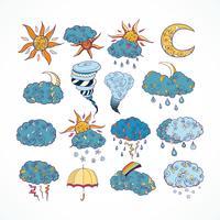 Doodle elementos de diseño de previsión meteorológica