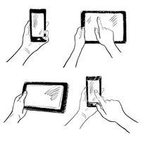 Conjunto de bocetos de pantalla táctil de manos.