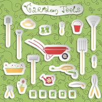 Garden tools stickers set vector